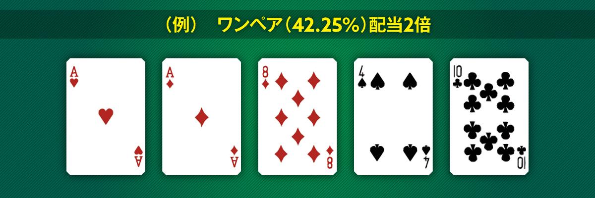 ワンペア(42.25%)配当2倍