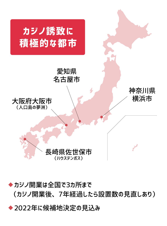 カジノ法案とは:現在のところカジノの誘致に積極的なのは、神奈川県横浜市、愛知県名古屋市、大阪府大阪市の人口島である夢洲、長崎県佐世保市のハウステンボスなど