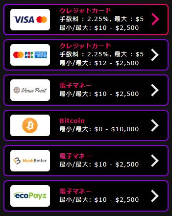インターカジノ入金手数料・最小入金額・最大入金額・反映時間