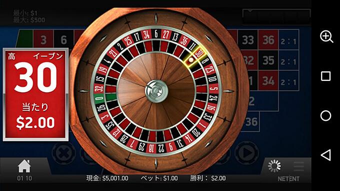 European roulette ゲームの流れ3