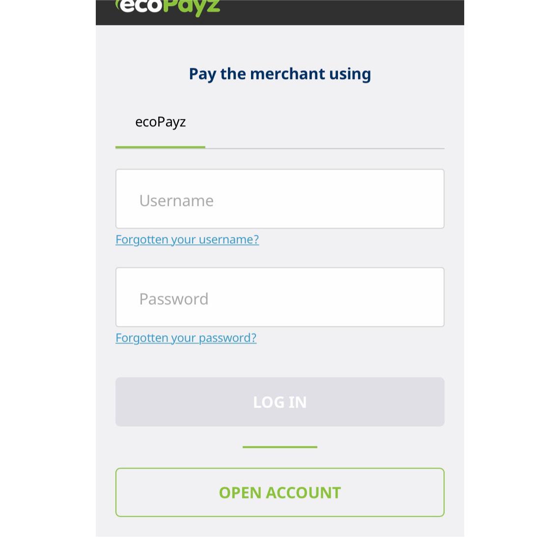 ecoPayzのログイン画面が表示されるので、IDとパスワードを入力