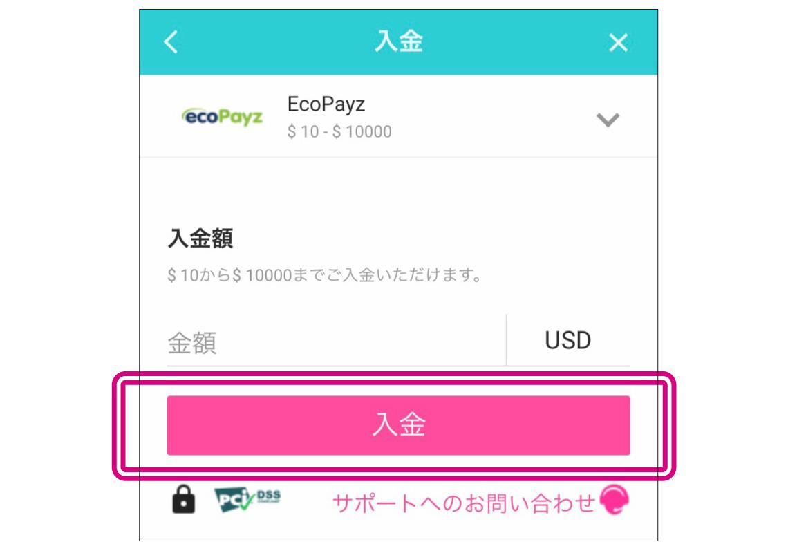 ecopayz入金額を入力したら「入金」